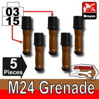 5 X Overmolded German M24 Potato Masher Grenades