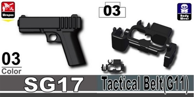 Sg17 Pistol + Black Minifigure Tactical Belt G11 9Mm