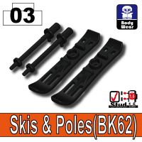 Black Minifigure Skis And Poles