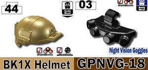 Dark Tan Bk1X + Gpnvg-18 Navy Seal Minifigure Helmet